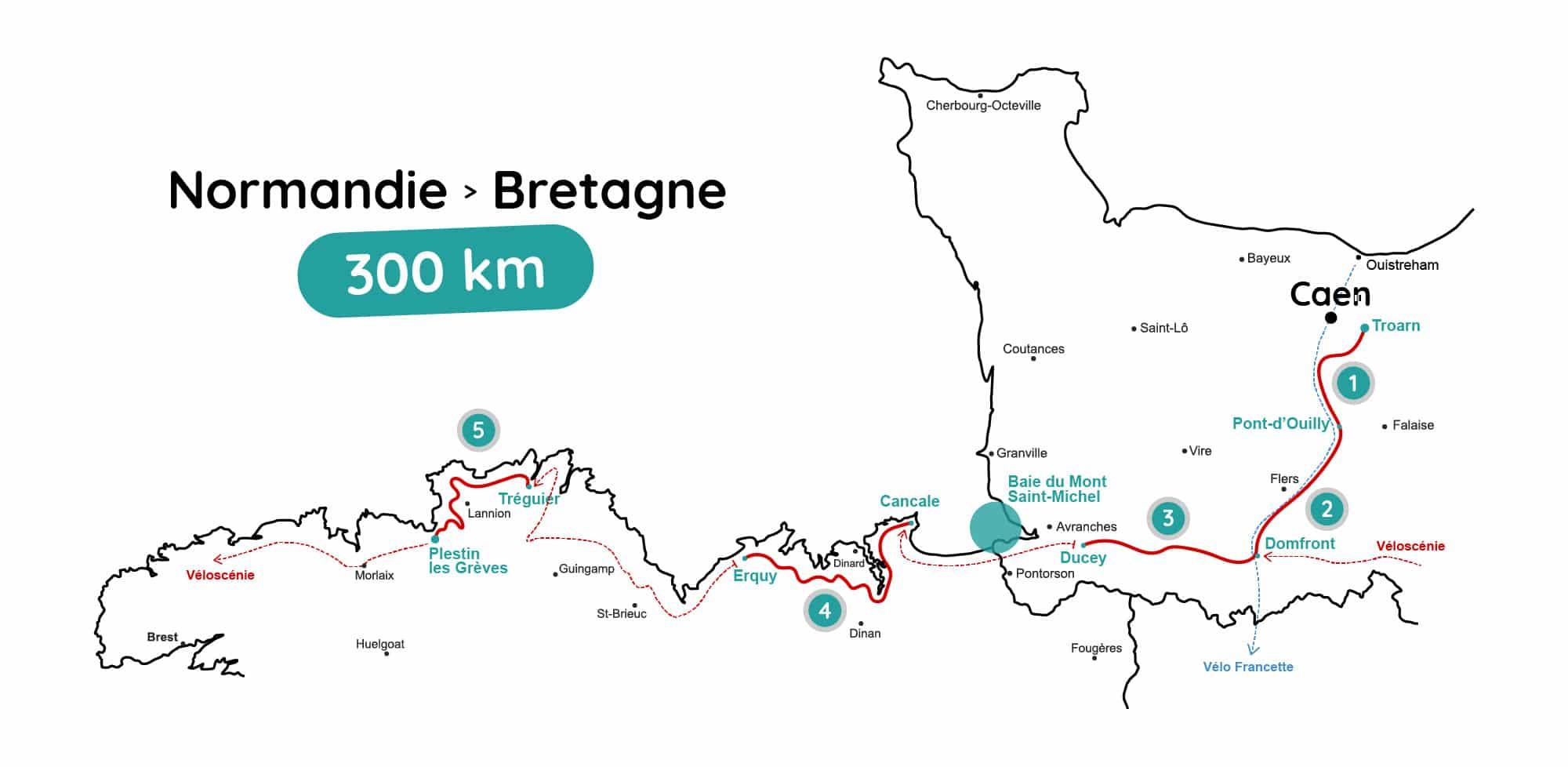 Roadtrip velo carte Normandie Bretagne wildspot