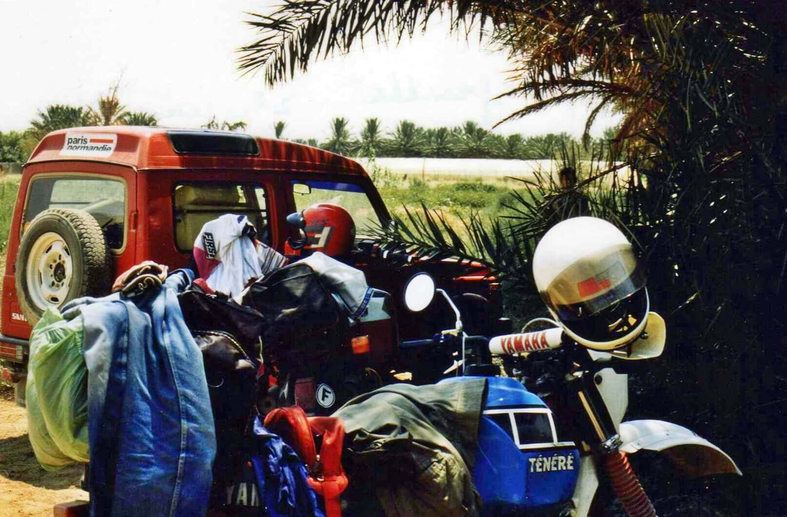 Raid moto 4x4 Tunisie Wild Spot Chebika Gafsa région Moularès champs pastèques melons