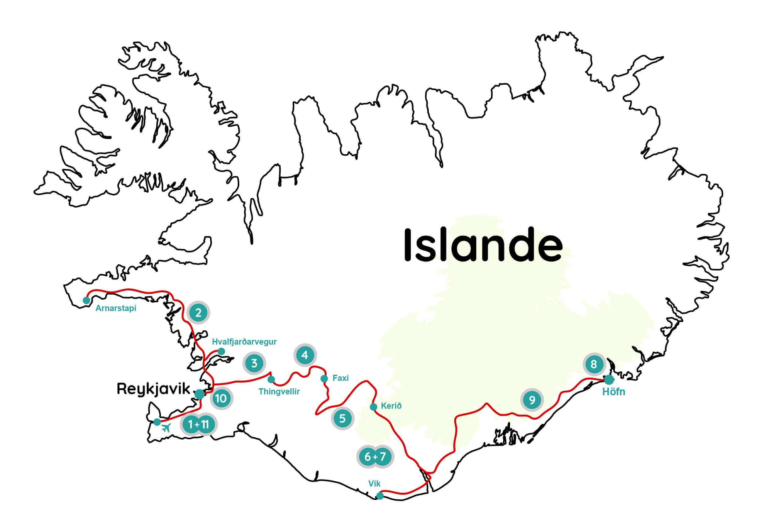 Carte Islande trip photo Keflavík Höfn Wild Spot